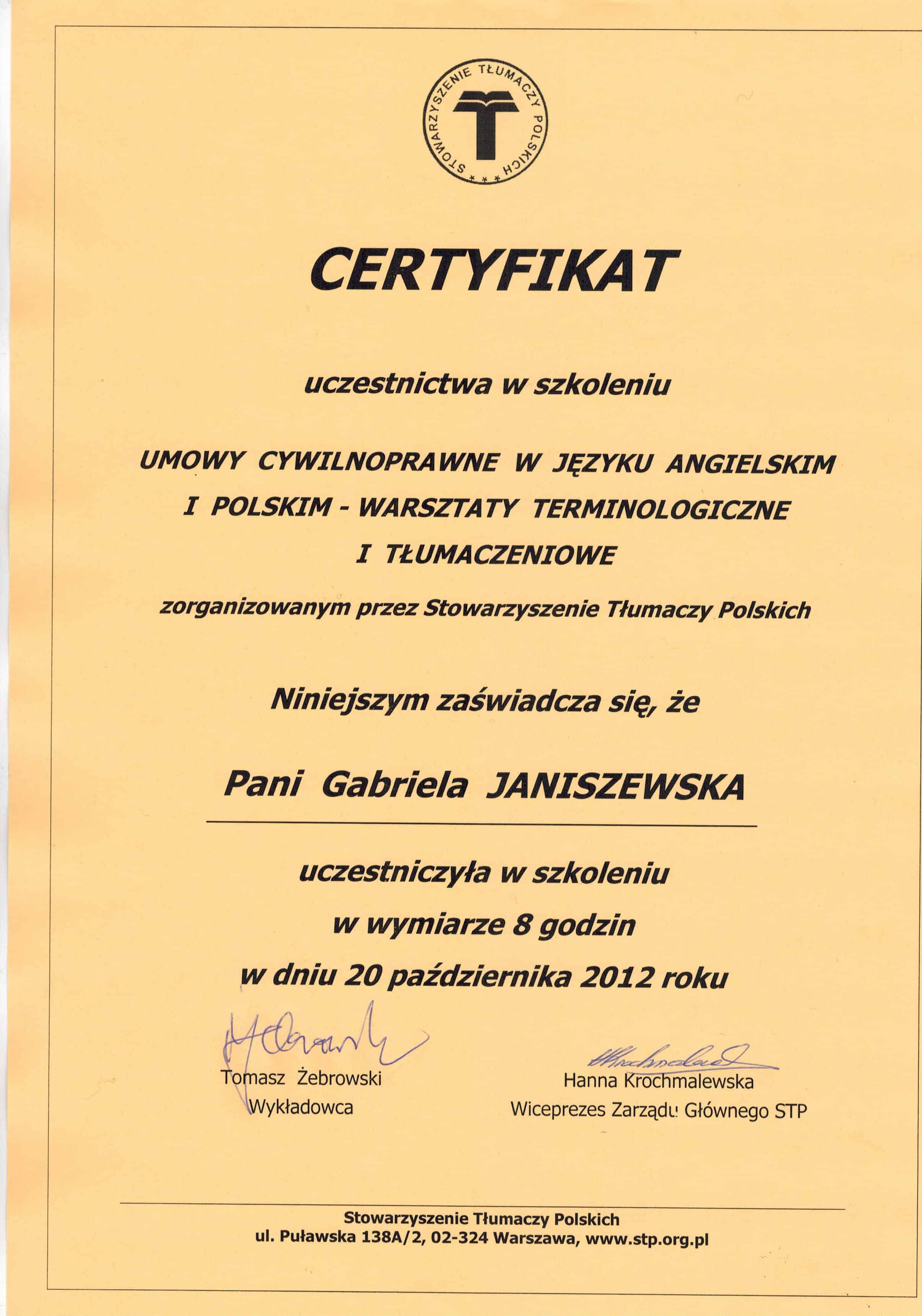 Certyfikat ze szkolenia STP